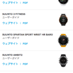SUUNTOのユーザーガイド(取扱説明書)一覧が表示された画像