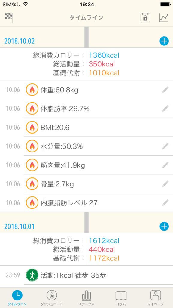 JouleLife(ジュールライフ)アプリのタイムライン画面で体組成計データが反映